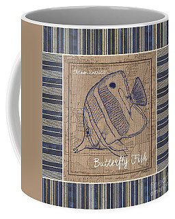 Nautical Stripes Butterfly Fish Coffee Mug