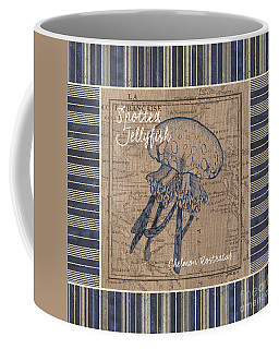 Nautical Stripes Jellyfish Coffee Mug