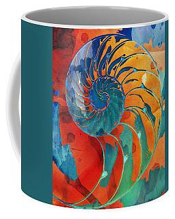 Nautilus Shell Orange Blue Green Coffee Mug