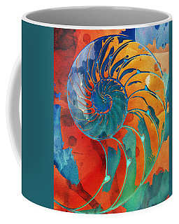 Nautilus Shell Orange Blue Green Coffee Mug