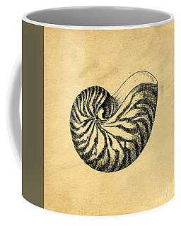 Coffee Mug featuring the digital art Nautilus Shell Vintage by Edward Fielding