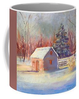 Coffee Mug featuring the pastel Nauvoo Winter Scene by Rebecca Matthews