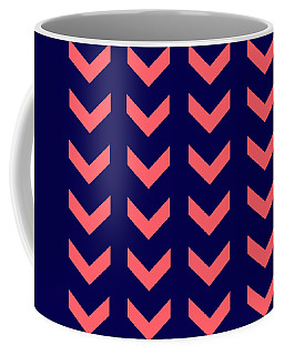 Navy With Coral Arrows Coffee Mug