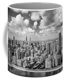 Coffee Mug featuring the photograph Near North Side And Gold Coast Black And White by Adam Romanowicz