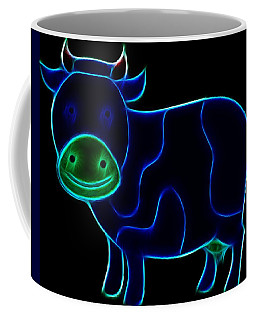 Coffee Mug featuring the digital art Neon Cow by Maciek Froncisz