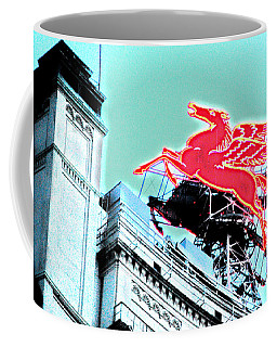 Neon Pegasus Atop Magnolia Building In Dallas Texas Coffee Mug