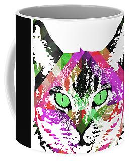 Neon Rainbow Kitty Cat Poster Print By Robert R Coffee Mug