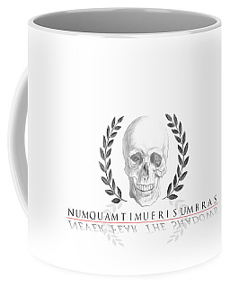 Never Fear The Shadows Stoic Skull With Laurels Coffee Mug