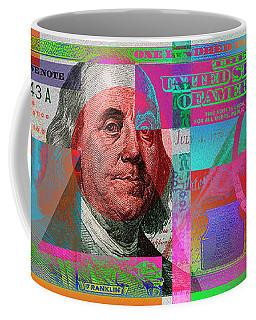 New 2009 Series Pop Art Colorized Us One Hundred Dollar Bill  No. 3 Coffee Mug by Serge Averbukh