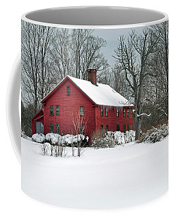 New England Colonial Home In Winter Coffee Mug