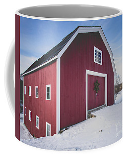 Coffee Mug featuring the photograph New England Red Barn Winter Orford by Edward Fielding
