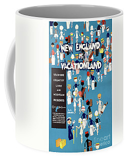 Coffee Mug featuring the mixed media New England Restored Vintage Travel Poster by Carsten Reisinger
