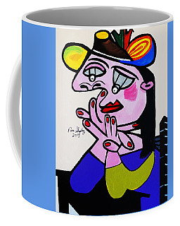 Coffee Mug featuring the painting New Picasso  Bug Eye by Nora Shepley