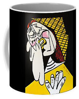 Coffee Mug featuring the painting New Picasso The Weeper 2 by Nora Shepley