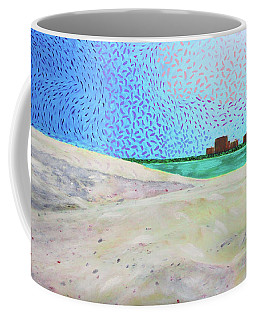 Coffee Mug featuring the painting New Smyrna Beach As Seen From A Dune On Ponce Inlet by Deborah Boyd