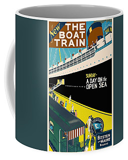 New The Boat Train - A Day On The Open Sea - Retro Travel Poster - Vintage Poster Coffee Mug