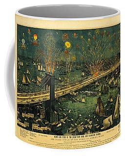 New York And Brooklyn Bridge Opening Night Fireworks Coffee Mug by John Stephens