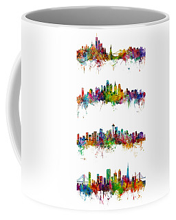 New York, Philadelphia, Seattle And San Francisco Skylines Coffee Mug