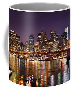 New York City Brooklyn Bridge And Lower Manhattan At Night Nyc Coffee Mug
