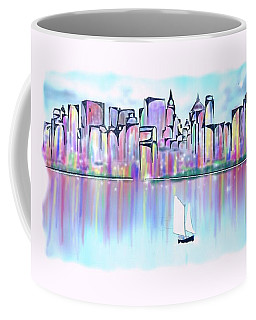 Coffee Mug featuring the digital art New York City Scape by Darren Cannell