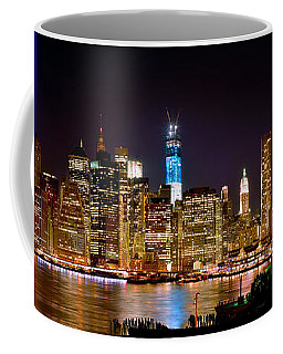 New York City Tribute In Lights And Lower Manhattan At Night Nyc Coffee Mug