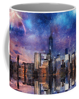 Coffee Mug featuring the photograph New York Fireworks by Ian Mitchell