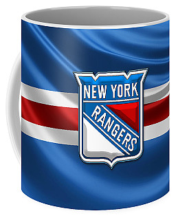 New York Rangers - 3d Badge Over Flag Coffee Mug