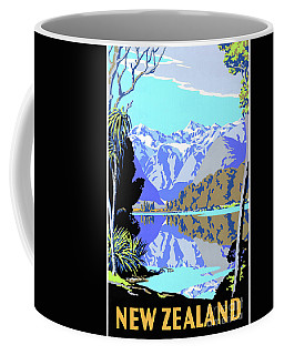 New Zealand Lake Matheson Vintage Travel Poster Coffee Mug