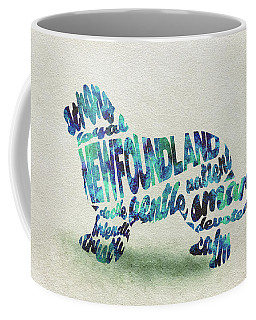 Coffee Mug featuring the painting Newfoundland Dog Watercolor Painting / Typographic Art by Ayse and Deniz