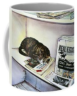 Newpaper Cat Coffee Mug