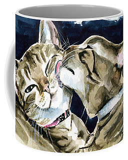 Coffee Mug featuring the painting Nice And Clean - Tabby Cat Painting by Dora Hathazi Mendes