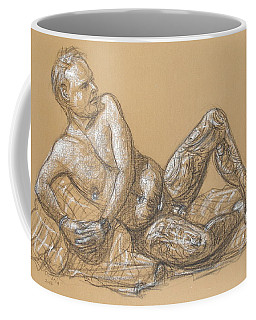 Coffee Mug featuring the drawing Nick Reclining by Donelli  DiMaria