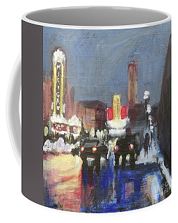 Night Around Michigan Theater Coffee Mug by Yoshiko Mishina