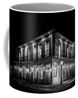 Coffee Mug featuring the photograph Night At Chateau Hotel In Black And White by Greg Mimbs