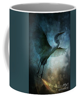 Night Flight Of The Great Egret Coffee Mug