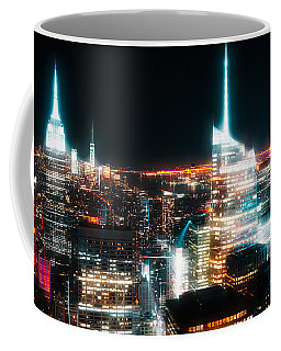 Coffee Mug featuring the mixed media Night Glow New York City by Dan Sproul