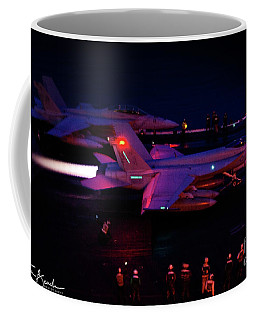 Night Launch - Uss Kitty Hawk Coffee Mug