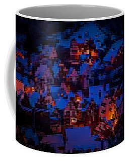 Coffee Mug featuring the digital art Night Lights Abstract by Shelli Fitzpatrick