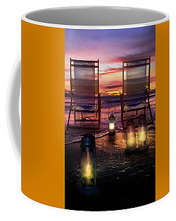Coffee Mug featuring the photograph Night Lights At Sunset by Debra and Dave Vanderlaan