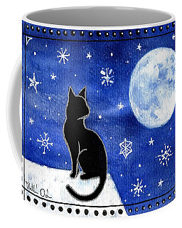 Coffee Mug featuring the painting Night Patrol At Wintertime by Dora Hathazi Mendes