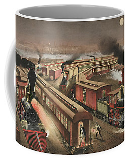 Night Scene At An American Railway Junction Coffee Mug