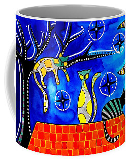 Night Shift - Cat Art By Dora Hathazi Mendes Coffee Mug by Dora Hathazi Mendes