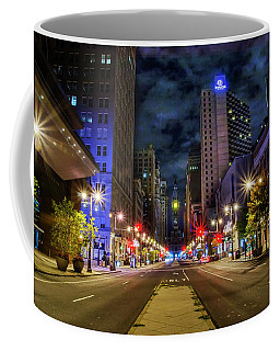 Coffee Mug featuring the photograph Night Shot Of Broad Street - Philadelphia by Bill Cannon