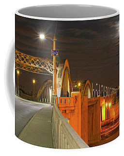 Night Shot Of The Los Angeles 6th Street Bridge And Supermoon #1 Coffee Mug