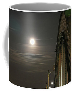 Night Shot Of The Los Angeles 6th Street Bridge And Supermoon #2 Coffee Mug