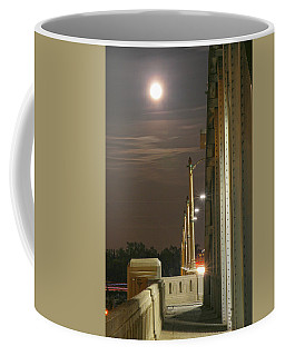 Night Shot Of The Los Angeles 6th Street Bridge And Supermoon #3 Coffee Mug