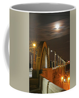 Night Shot Of The Los Angeles 6th Street Bridge And Supermoon #4 Coffee Mug