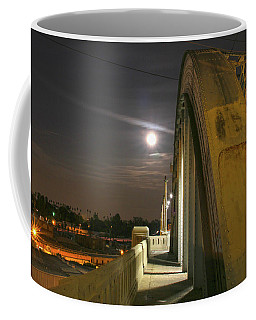 Night Shot Of The Los Angeles 6th Street Bridge And Supermoon #6 Coffee Mug