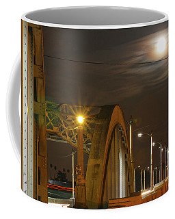 Night Shot Of The Los Angeles 6th Street Bridge And Supermoon #7 Coffee Mug