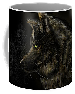 Coffee Mug featuring the digital art Night Silent Wolf by Darren Cannell